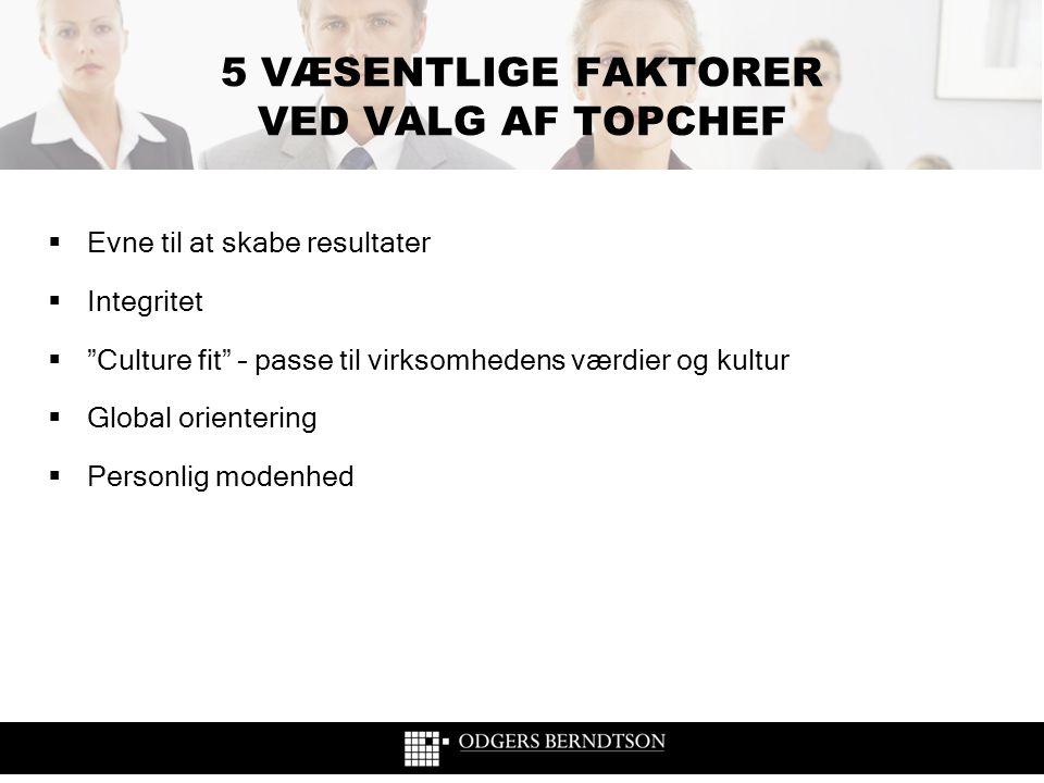 """5 VÆSENTLIGE FAKTORER VED VALG AF TOPCHEF  Evne til at skabe resultater  Integritet  """"Culture fit"""" – passe til virksomhedens værdier og kultur  Gl"""