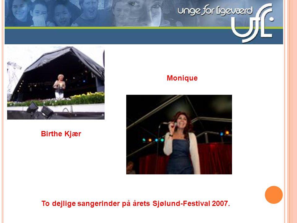 En koncentreret formand for UFL-Tønder viser hjemmesiden frem i Løgumkloster Men hun kan også hygge sig gevaltigt på Sjølund-Festivalen 2007 – som i ø