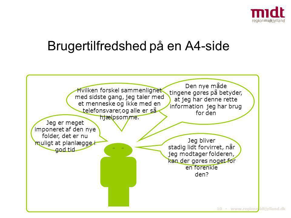 10 ▪ www.regionmidtjylland.dk Brugertilfredshed på en A4-side Den nye måde tingene gøres på betyder, at jeg har denne rette information jeg har brug f