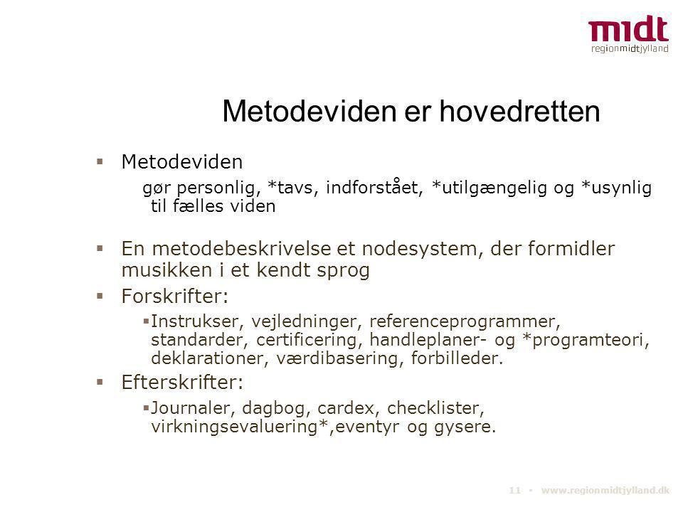 11 ▪ www.regionmidtjylland.dk Metodeviden er hovedretten  Metodeviden gør personlig, *tavs, indforstået, *utilgængelig og *usynlig til fælles viden 