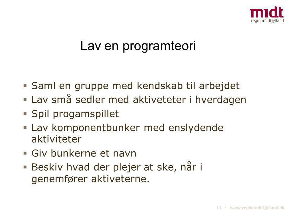 13 ▪ www.regionmidtjylland.dk Lav en programteori  Saml en gruppe med kendskab til arbejdet  Lav små sedler med aktiveteter i hverdagen  Spil proga