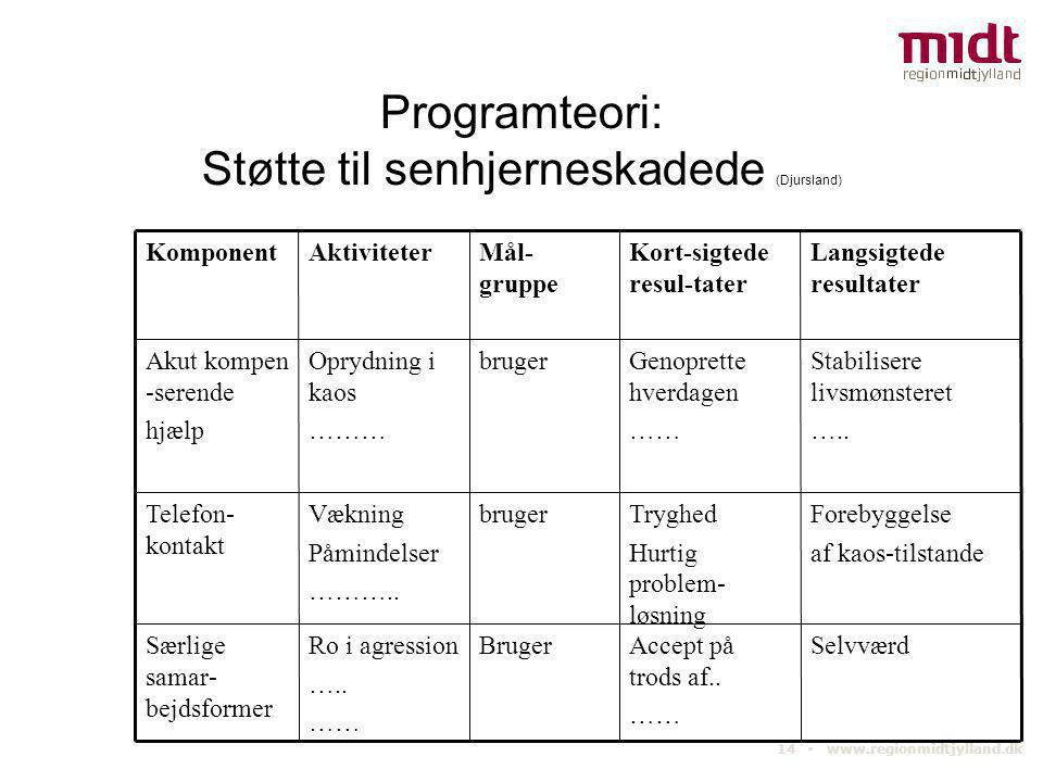 14 ▪ www.regionmidtjylland.dk Programteori: Støtte til senhjerneskadede (Djursland) Selvværd Forebyggelse af kaos-tilstande Stabilisere livsmønsteret