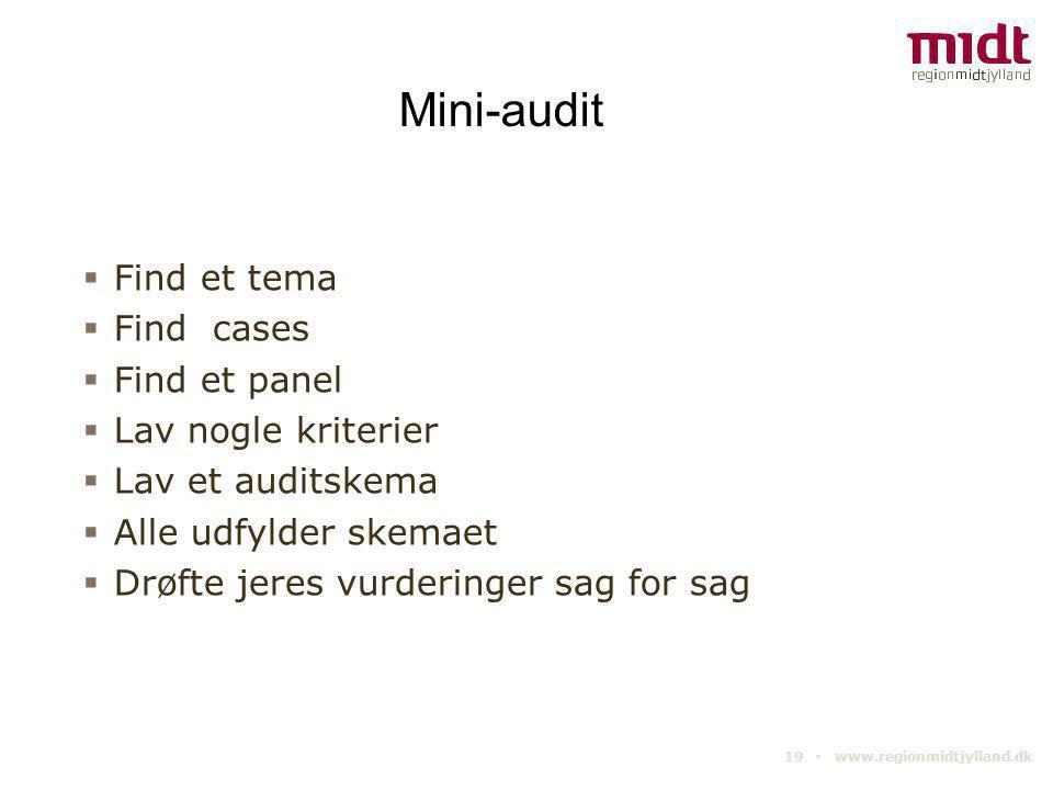 19 ▪ www.regionmidtjylland.dk Mini-audit  Find et tema  Find cases  Find et panel  Lav nogle kriterier  Lav et auditskema  Alle udfylder skemaet