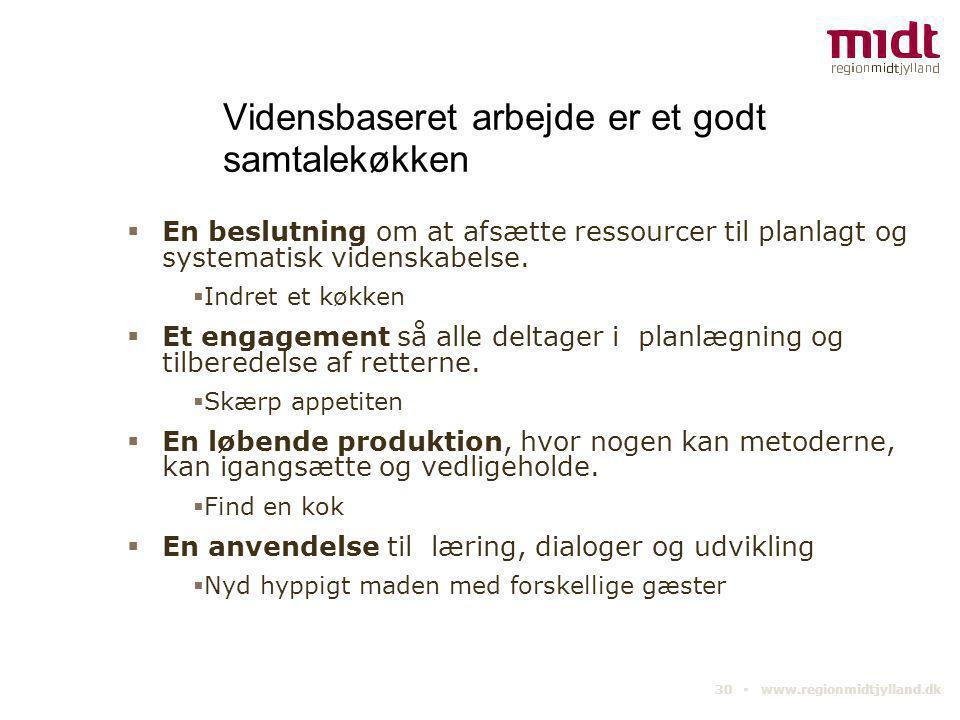 30 ▪ www.regionmidtjylland.dk Vidensbaseret arbejde er et godt samtalekøkken  En beslutning om at afsætte ressourcer til planlagt og systematisk vide