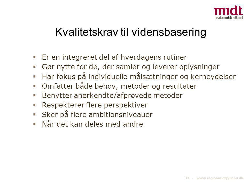 32 ▪ www.regionmidtjylland.dk Kvalitetskrav til vidensbasering  Er en integreret del af hverdagens rutiner  Gør nytte for de, der samler og leverer