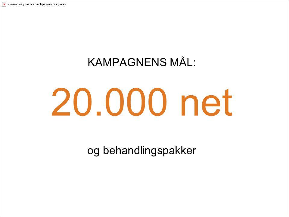 KAMPAGNENS MÅL: 20.000 net og behandlingspakker