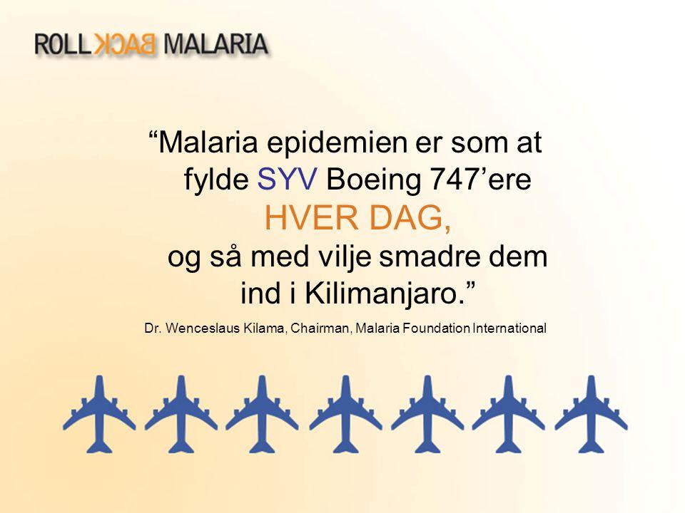 """""""Malaria epidemien er som at fylde SYV Boeing 747'ere HVER DAG, og så med vilje smadre dem ind i Kilimanjaro."""" Dr. Wenceslaus Kilama, Chairman, Malari"""