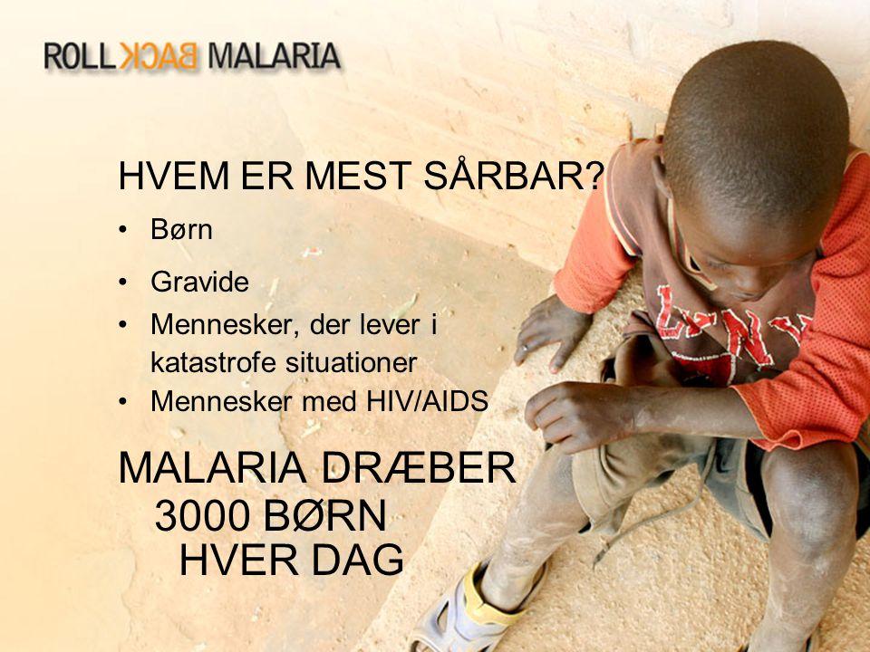 HVEM ER MEST SÅRBAR? •Børn •Gravide •Mennesker, der lever i katastrofe situationer •Mennesker med HIV/AIDS MALARIA DRÆBER 3000 BØRN HVER DAG