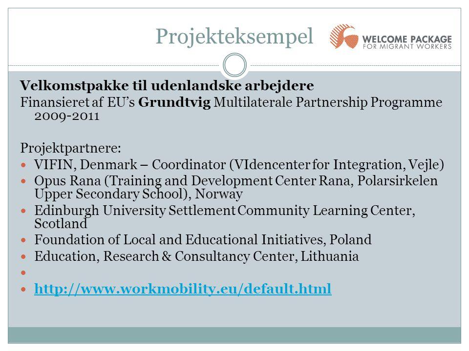 Projekteksempel Velkomstpakke til udenlandske arbejdere Finansieret af EU's Grundtvig Multilaterale Partnership Programme 2009-2011 Projektpartnere: 