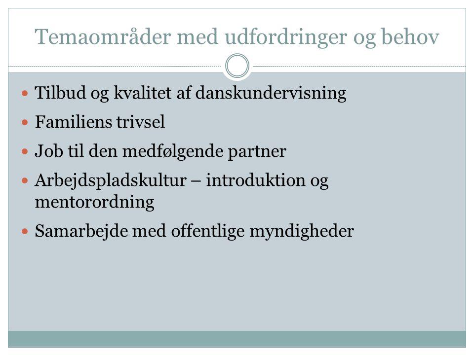 Temaområder med udfordringer og behov  Tilbud og kvalitet af danskundervisning  Familiens trivsel  Job til den medfølgende partner  Arbejdspladskultur – introduktion og mentorordning  Samarbejde med offentlige myndigheder