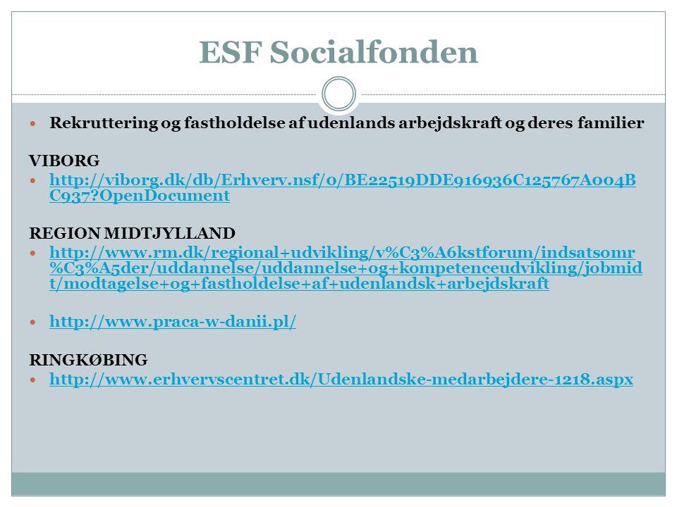 ESF Socialfonden  Rekruttering og fastholdelse af udenlands arbejdskraft og deres familier VIBORG  http://viborg.dk/db/Erhverv.nsf/0/BE22519DDE916936C125767A004B C937 OpenDocument http://viborg.dk/db/Erhverv.nsf/0/BE22519DDE916936C125767A004B C937 OpenDocument REGION MIDTJYLLAND  http://www.rm.dk/regional+udvikling/v%C3%A6kstforum/indsatsomr %C3%A5der/uddannelse/uddannelse+og+kompetenceudvikling/jobmid t/modtagelse+og+fastholdelse+af+udenlandsk+arbejdskraft http://www.rm.dk/regional+udvikling/v%C3%A6kstforum/indsatsomr %C3%A5der/uddannelse/uddannelse+og+kompetenceudvikling/jobmid t/modtagelse+og+fastholdelse+af+udenlandsk+arbejdskraft  http://www.praca-w-danii.pl/ http://www.praca-w-danii.pl/ RINGKØBING  http://www.erhvervscentret.dk/Udenlandske-medarbejdere-1218.aspx http://www.erhvervscentret.dk/Udenlandske-medarbejdere-1218.aspx