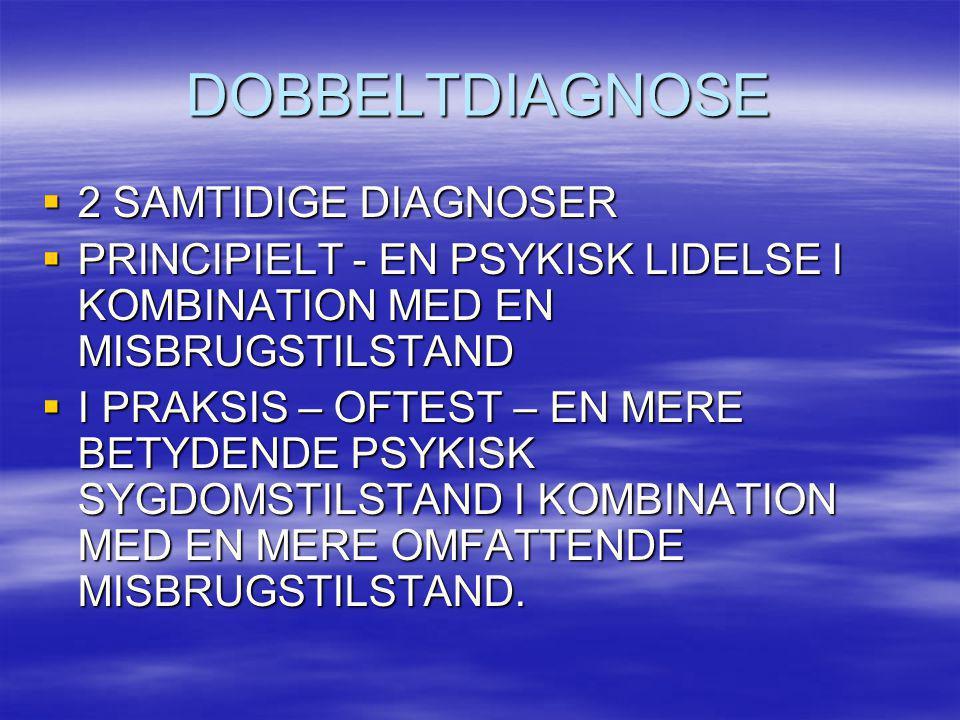 DOBBELTDIAGNOSE  2 SAMTIDIGE DIAGNOSER  PRINCIPIELT - EN PSYKISK LIDELSE I KOMBINATION MED EN MISBRUGSTILSTAND  I PRAKSIS – OFTEST – EN MERE BETYDE