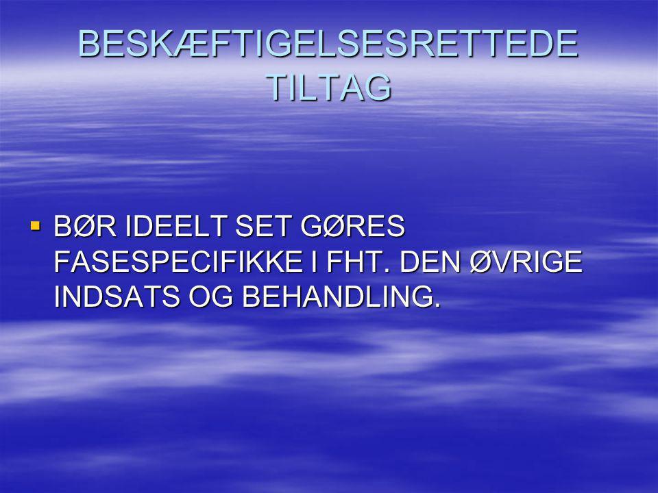 BESKÆFTIGELSESRETTEDE TILTAG  BØR IDEELT SET GØRES FASESPECIFIKKE I FHT. DEN ØVRIGE INDSATS OG BEHANDLING.
