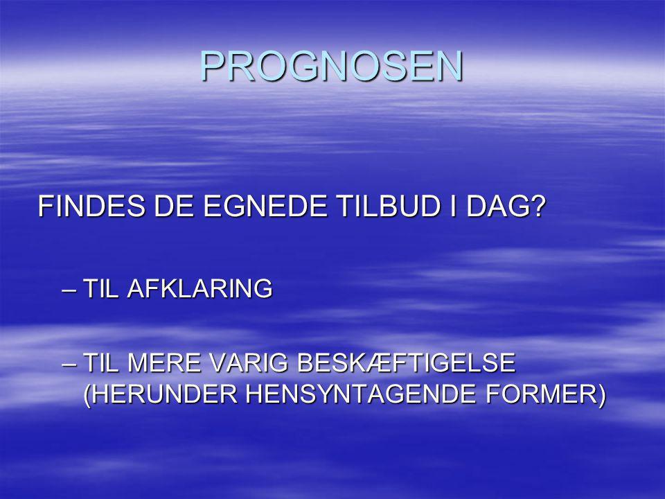 PROGNOSEN FINDES DE EGNEDE TILBUD I DAG? FINDES DE EGNEDE TILBUD I DAG? –TIL AFKLARING –TIL MERE VARIG BESKÆFTIGELSE (HERUNDER HENSYNTAGENDE FORMER)