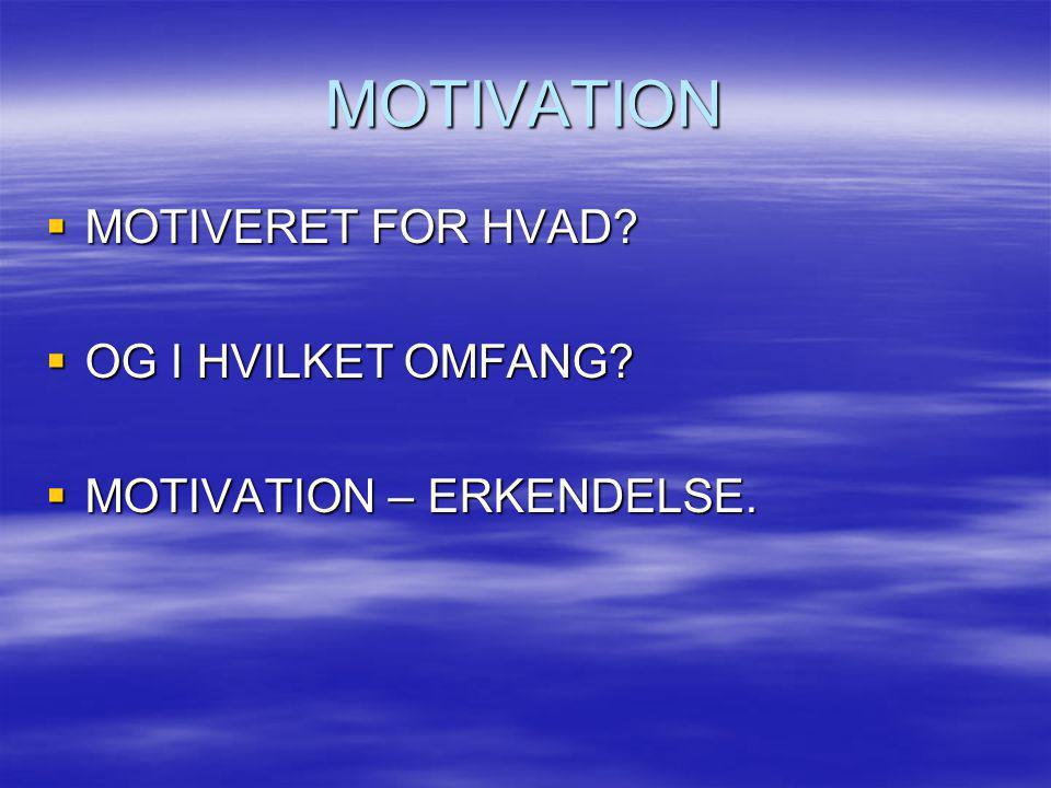 MOTIVATION  MOTIVERET FOR HVAD?  OG I HVILKET OMFANG?  MOTIVATION – ERKENDELSE.