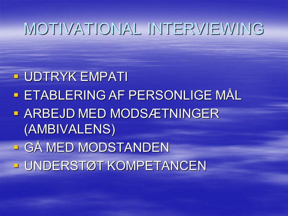 MOTIVATIONAL INTERVIEWING  UDTRYK EMPATI  ETABLERING AF PERSONLIGE MÅL  ARBEJD MED MODSÆTNINGER (AMBIVALENS)  GÅ MED MODSTANDEN  UNDERSTØT KOMPET