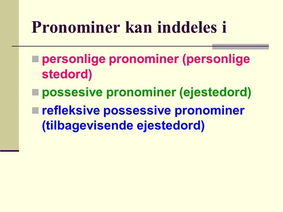 Lad os se hvor ordene kommer fra  hans og sin kommer fra en ordgruppe der hedder PRONOMINER.