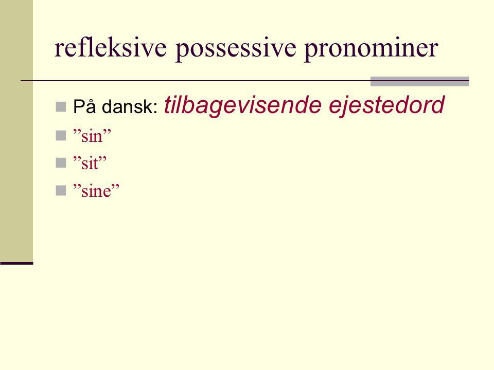 refleksive possessive pronominer  På dansk: tilbagevisende ejestedord  sin  sit  sine