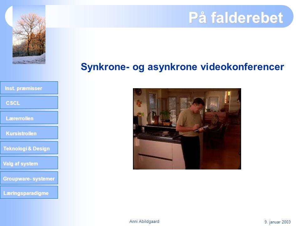 CSCL Lærerrollen Kursistrollen Teknologi & Design Valg af system Groupware- systemer Inst. præmisser Læringsparadigme 9. januar 2003 Anni Abildgaard P