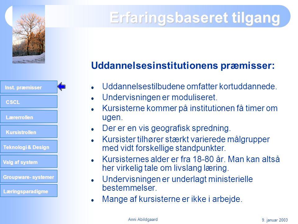 CSCL Lærerrollen Kursistrollen Teknologi & Design Valg af system Groupware- systemer Inst. præmisser Læringsparadigme 9. januar 2003 Anni Abildgaard E