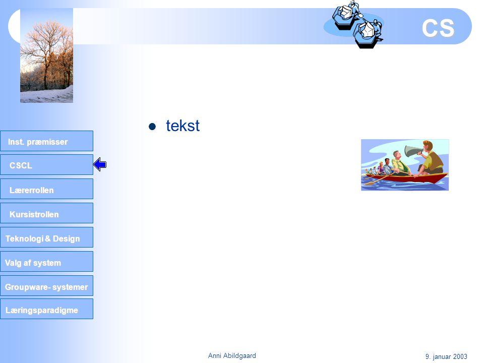 CSCL Lærerrollen Kursistrollen Teknologi & Design Valg af system Groupware- systemer Inst. præmisser Læringsparadigme 9. januar 2003 Anni Abildgaard C