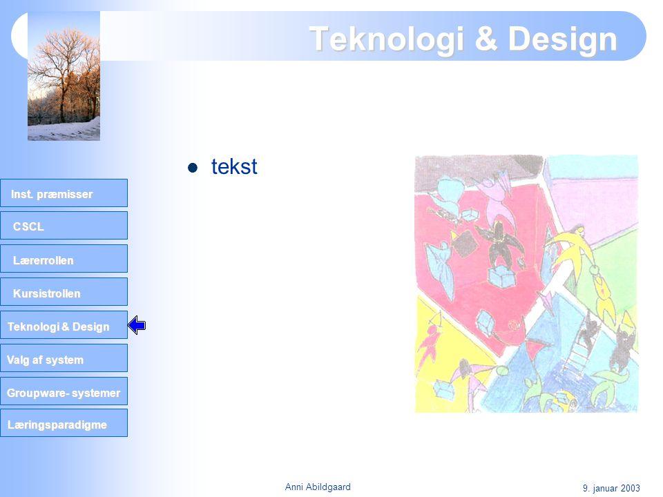 CSCL Lærerrollen Kursistrollen Teknologi & Design Valg af system Groupware- systemer Inst. præmisser Læringsparadigme 9. januar 2003 Anni Abildgaard T