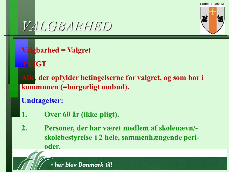 VALGBARHED Valgbarhed = Valgret PLIGT Alle, der opfylder betingelserne for valgret, og som bor i kommunen (=borgerligt ombud).