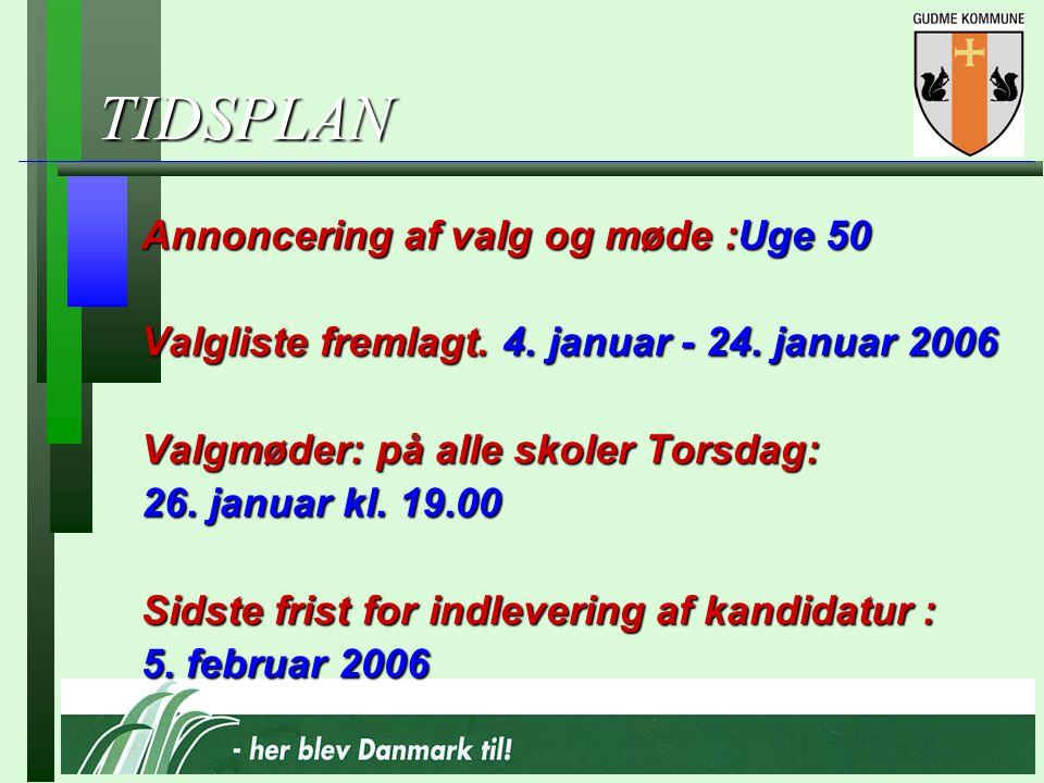 TIDSPLAN Annoncering af valg og møde :Uge 50 Valgliste fremlagt.