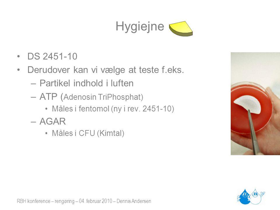 RBH konference – rengøring – 04. februar 2010 – Dennis Andersen Hygiejne •DS 2451-10 •Derudover kan vi vælge at teste f.eks. –Partikel indhold i lufte