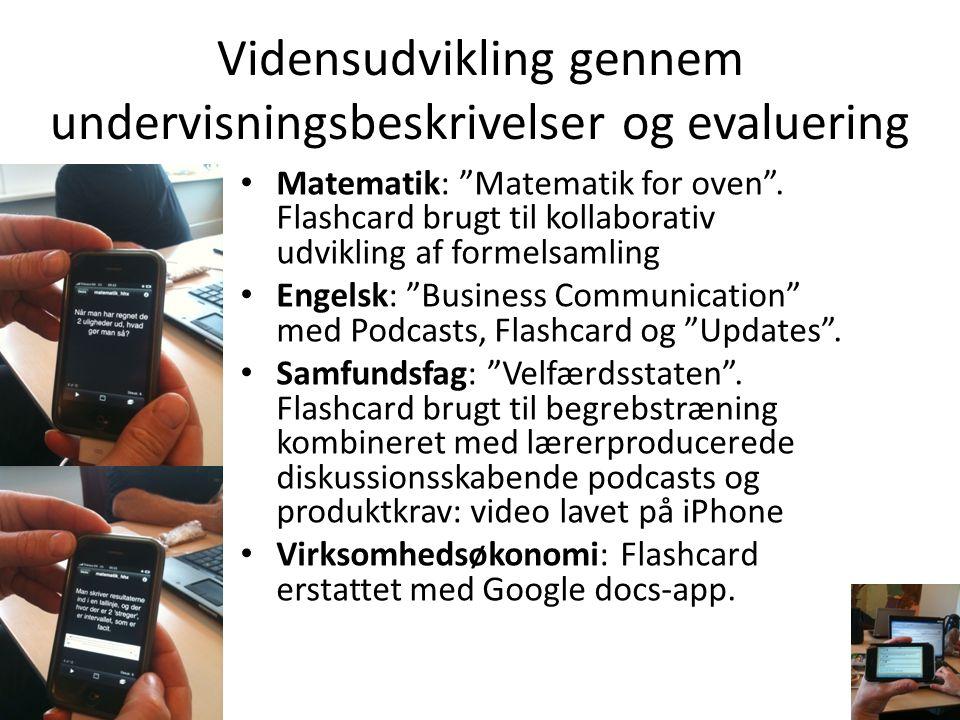 """Vidensudvikling gennem undervisningsbeskrivelser og evaluering • Matematik: """"Matematik for oven"""". Flashcard brugt til kollaborativ udvikling af formel"""