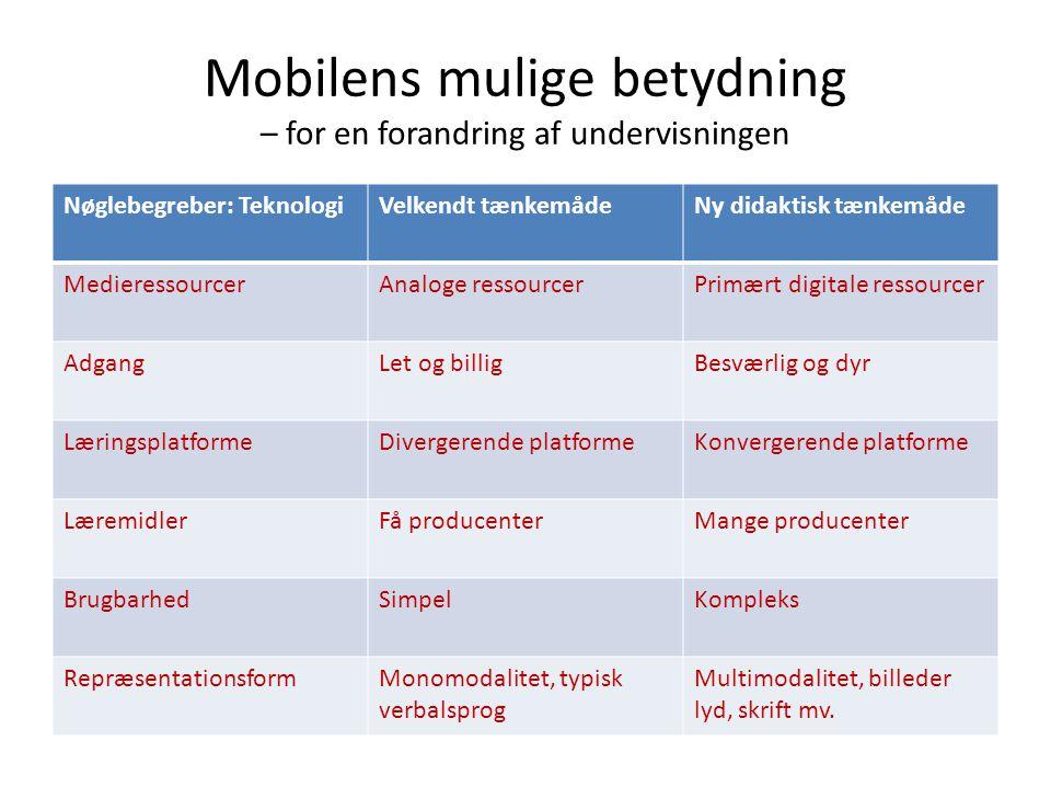 Mobilens mulige betydning – for en forandring af undervisningen Nøglebegreber: TeknologiVelkendt tænkemådeNy didaktisk tænkemåde MedieressourcerAnalog