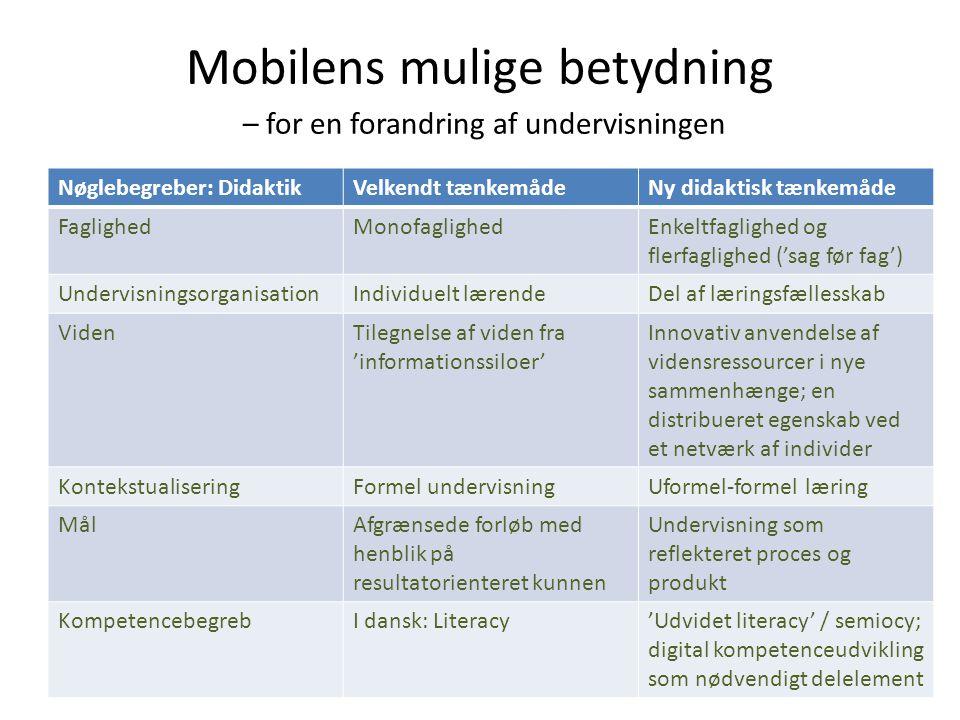 Mobilens mulige betydning – for en forandring af undervisningen Nøglebegreber: DidaktikVelkendt tænkemådeNy didaktisk tænkemåde FaglighedMonofaglighed