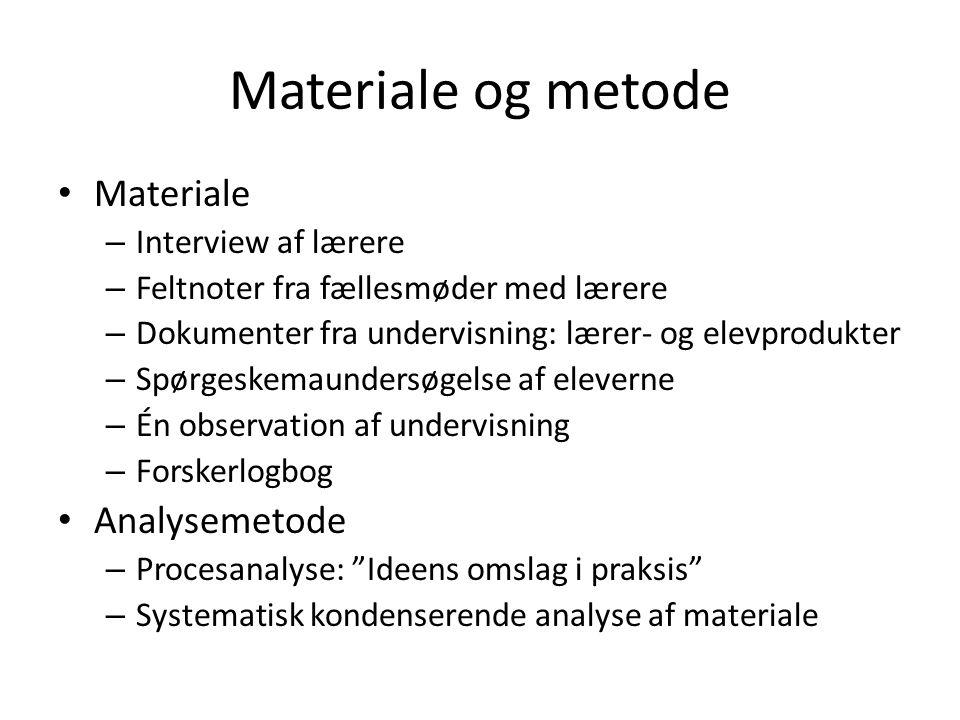 Materiale og metode • Materiale – Interview af lærere – Feltnoter fra fællesmøder med lærere – Dokumenter fra undervisning: lærer- og elevprodukter –