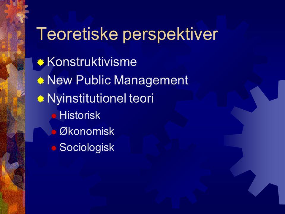 Teoretiske perspektiver  Konstruktivisme  New Public Management  Nyinstitutionel teori  Historisk  Økonomisk  Sociologisk