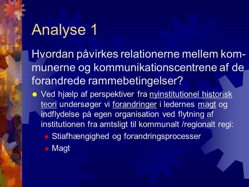 Analyse 1 Hvordan påvirkes relationerne mellem kom- munerne og kommunikationscentrene af de forandrede rammebetingelser.