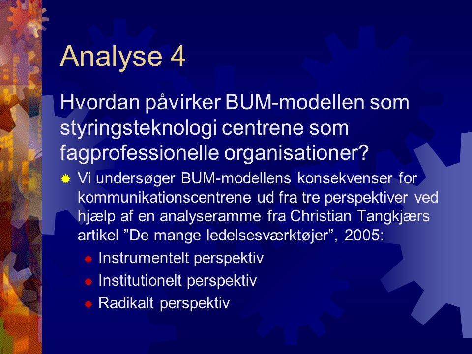 Analyse 4 Hvordan påvirker BUM-modellen som styringsteknologi centrene som fagprofessionelle organisationer.