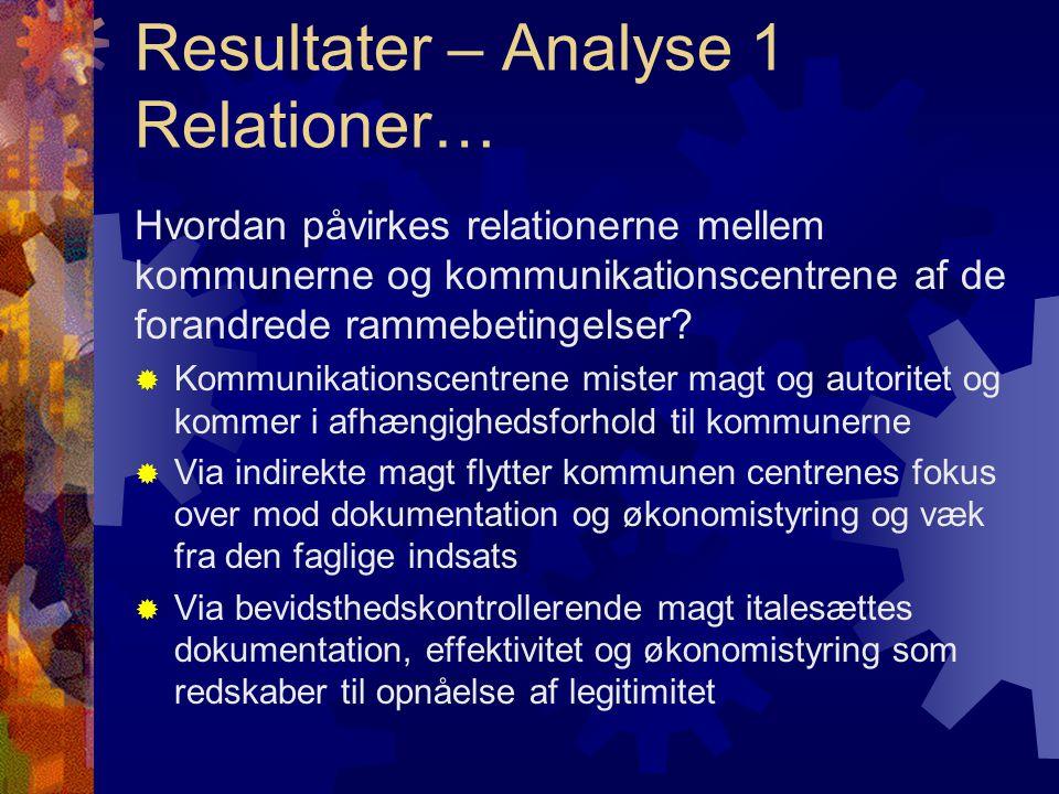 Resultater – Analyse 1 Relationer… Hvordan påvirkes relationerne mellem kommunerne og kommunikationscentrene af de forandrede rammebetingelser.