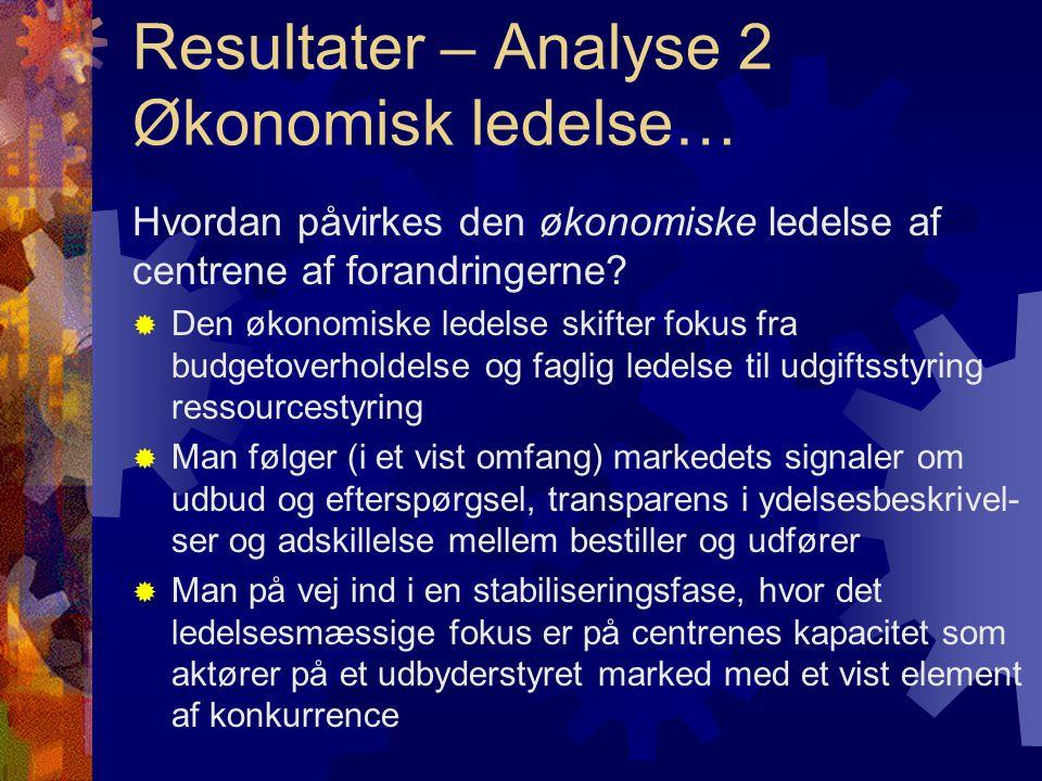 Resultater – Analyse 2 Økonomisk ledelse… Hvordan påvirkes den økonomiske ledelse af centrene af forandringerne.