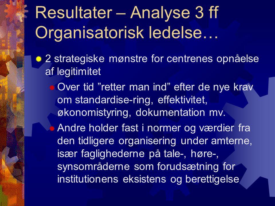 Resultater – Analyse 3 ff Organisatorisk ledelse…  2 strategiske mønstre for centrenes opnåelse af legitimitet  Over tid retter man ind efter de nye krav om standardise-ring, effektivitet, økonomistyring, dokumentation mv.