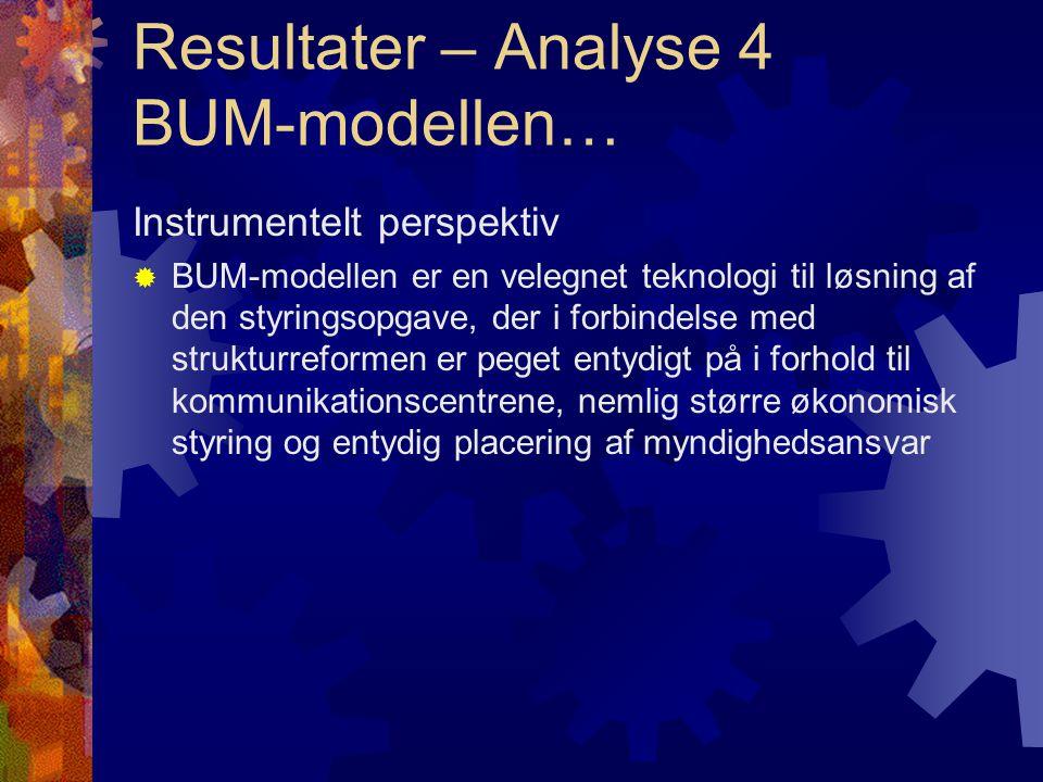 Resultater – Analyse 4 BUM-modellen… Instrumentelt perspektiv  BUM-modellen er en velegnet teknologi til løsning af den styringsopgave, der i forbindelse med strukturreformen er peget entydigt på i forhold til kommunikationscentrene, nemlig større økonomisk styring og entydig placering af myndighedsansvar
