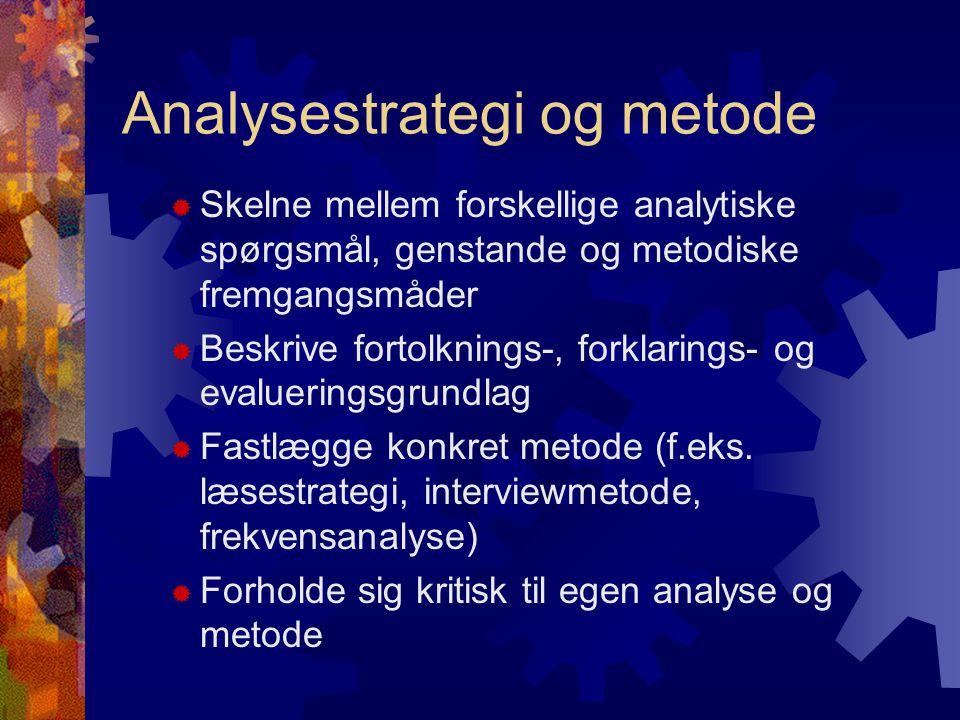 Empirisk analyse  Definere og afgrænse det empiriske felt / den konkrete genstand  Fastholde den valgte genstand, anlagte analysestrategi og konkrete metode  Præsentere stoffet i en velstruktureret og analytisk stringent form  Forholde sig reflekteret til data- og kildegrundlag  Reflektere sammenhængen mellem an- vendt metode og analysens udsagnskraft