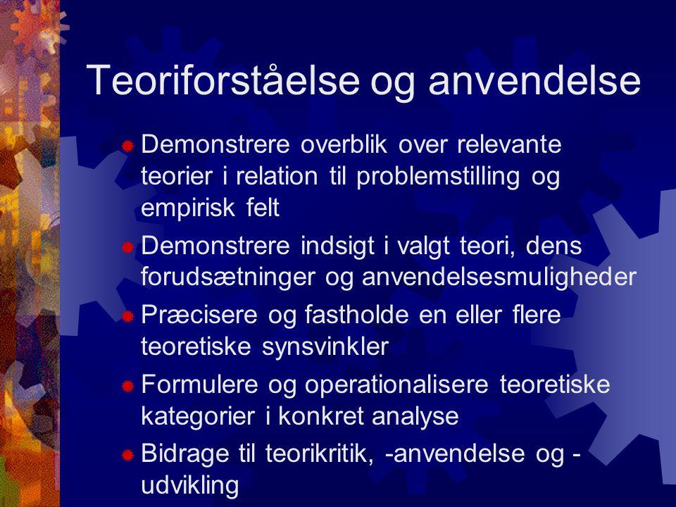Teoriforståelse og anvendelse  Demonstrere overblik over relevante teorier i relation til problemstilling og empirisk felt  Demonstrere indsigt i valgt teori, dens forudsætninger og anvendelsesmuligheder  Præcisere og fastholde en eller flere teoretiske synsvinkler  Formulere og operationalisere teoretiske kategorier i konkret analyse  Bidrage til teorikritik, -anvendelse og - udvikling