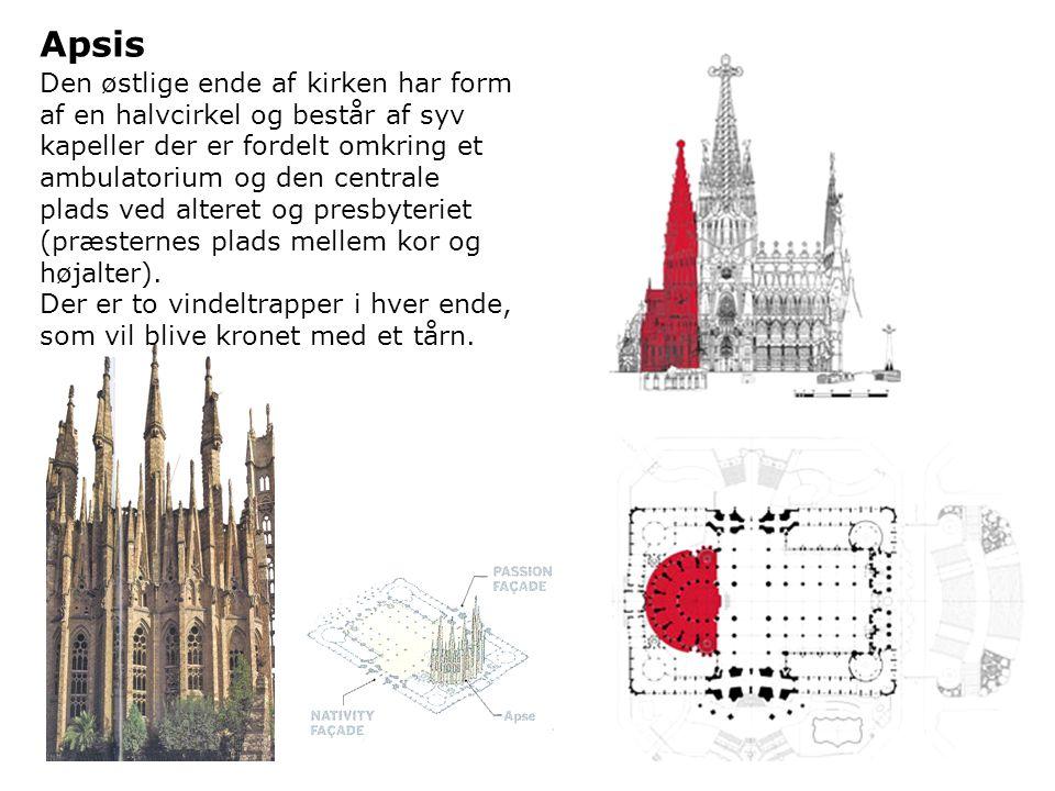 Gaudi planlagde skrå sidegrene på søjlerne i form af et træ i kirken.