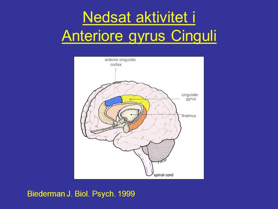 Nedsat aktivitet i Anteriore gyrus Cinguli Biederman J. Biol. Psych. 1999