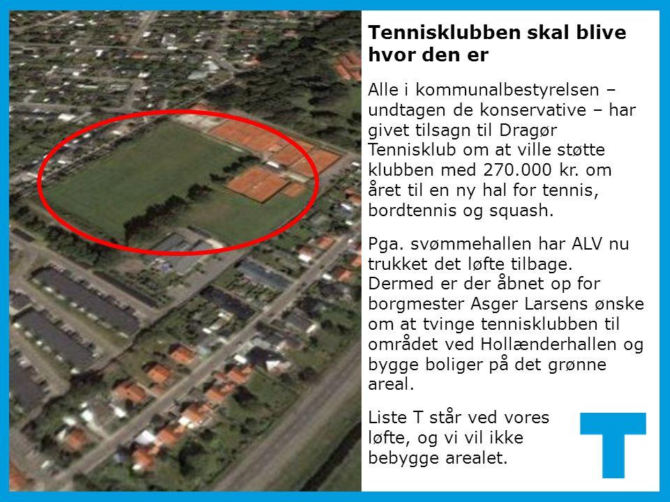 Tennisklubben skal blive hvor den er Alle i kommunalbestyrelsen – undtagen de konservative – har givet tilsagn til Dragør Tennisklub om at ville støtte klubben med 270.000 kr.