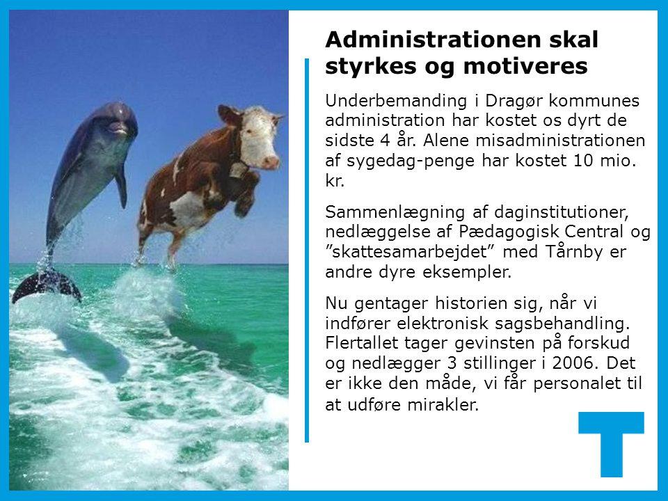 Administrationen skal styrkes og motiveres Underbemanding i Dragør kommunes administration har kostet os dyrt de sidste 4 år. Alene misadministratione
