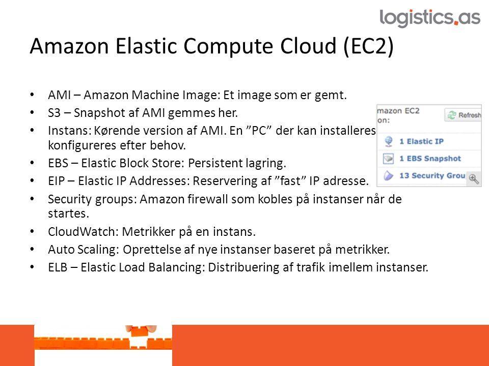 Amazon Elastic Compute Cloud (EC2) • AMI – Amazon Machine Image: Et image som er gemt.
