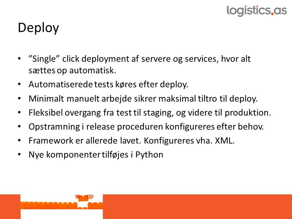 Deploy • Single click deployment af servere og services, hvor alt sættes op automatisk.