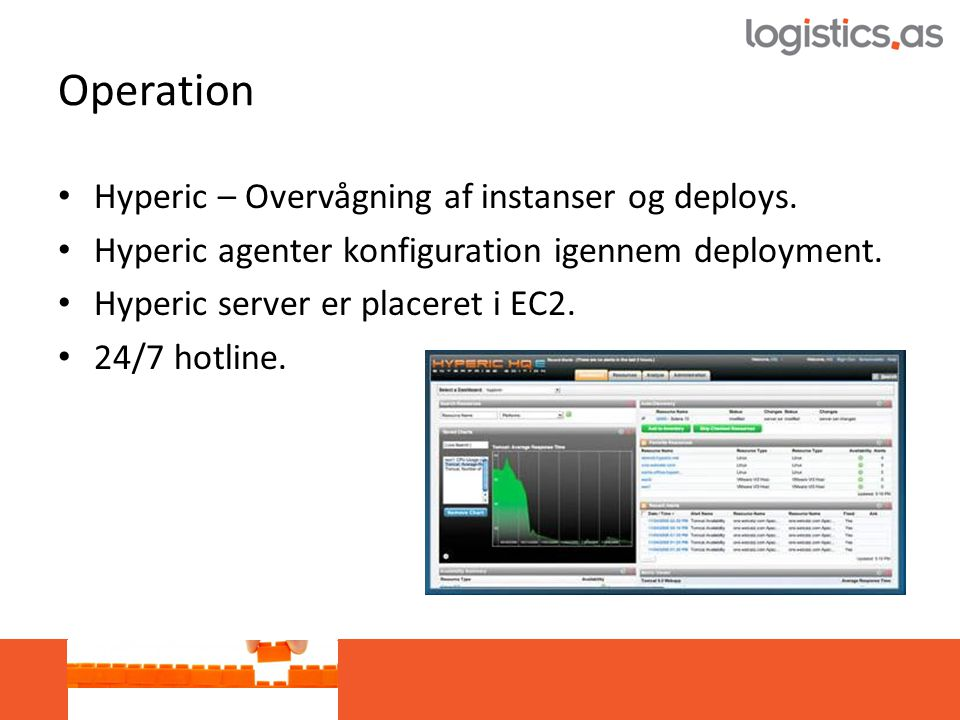 Operation • Hyperic – Overvågning af instanser og deploys.