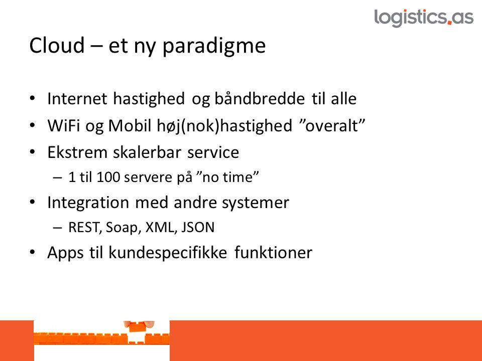 Cloud – et ny paradigme • Internet hastighed og båndbredde til alle • WiFi og Mobil høj(nok)hastighed overalt • Ekstrem skalerbar service – 1 til 100 servere på no time • Integration med andre systemer – REST, Soap, XML, JSON • Apps til kundespecifikke funktioner
